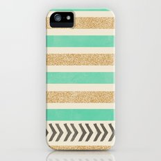 MINT AND GOLD STRIPES AND ARROWS Slim Case iPhone (5, 5s)