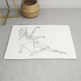 Dancer in one line style drawing Rug