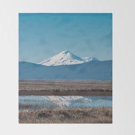 Mt Shasta Reflection Throw Blanket