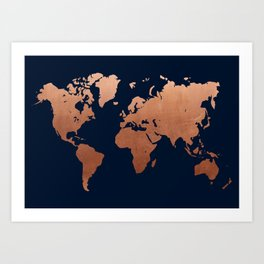 World map navy blue and copper Art Print