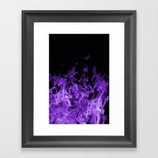 Purple Flames on black Framed Art Print
