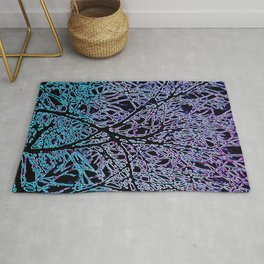Tangled Tree Branches in Blue and Teal Rug