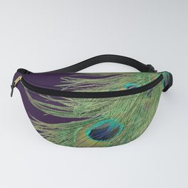 Peacock Feathers on Purple Background Fanny Pack