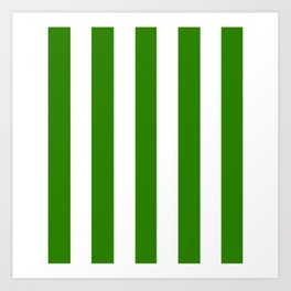 Napier green - solid color - white vertical lines pattern Art Print