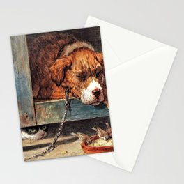 Cat Watches Birds With A Sleeping Dog - Digital Remastered Edition Stationery Cards