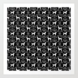 Poodle silhouette floral pattern minimal dog patterns for poodles owners black and white Art Print