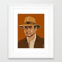 indiana jones Framed Art Prints featuring Indiana Jones by Aimee Liwag