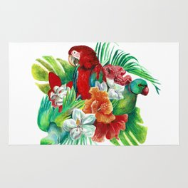 Tropical Bird Bouquet Watercolor Artwork Rug