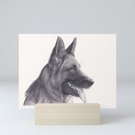 German Shepard Dog - Wildlife Animal Graphite Pencil drawing Artwork Pet Mini Art Print