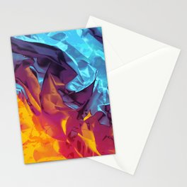 Surfing Europa. Dynamic Yellow, Orange and Blue Abstract. Stationery Cards