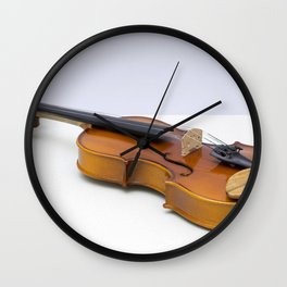 violin on a gray background Wall Clock