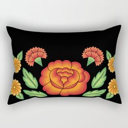 Mexican Folk Pattern – Tehuantepec Huipil flower embroidery Rectangular Pillow