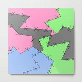 Freestyle Stitches - Gray, Pink, Green Metal Print