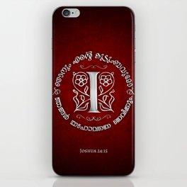 Joshua 24:15 - (Silver on Red) Monogram I iPhone Skin