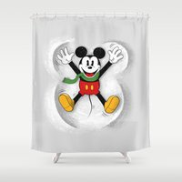 mickey Shower Curtains featuring Snow Mickey by Florent Bodart / Speakerine