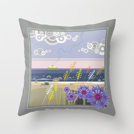 Sea landscape with wildflowers and ferry boat Throw Pillow