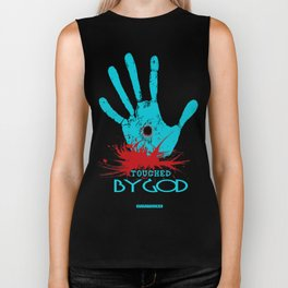 Touched by God (t shirt design) Biker Tank