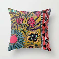 Yellow Floral Southwest Pattern  Throw Pillow
