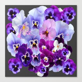 GREY VARIEGATED SPRING COLLECTION  PANSIES Canvas Print