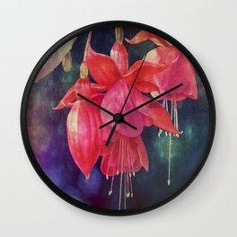 Fuchsias with Bokeh Wall Clock