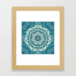 Winter blue floral mandala Framed Art Print