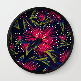 New Zealand Rata floral print (Night) Wall Clock