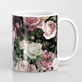 Vintage & Shabby chic - dark retro floral roses pattern Coffee Mug