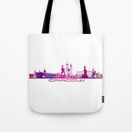 Cracow skyline city purple Tote Bag