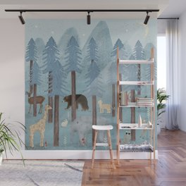 little blue forest Wall Mural