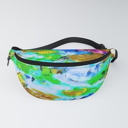 psychedelic splash painting abstract texture in brown green blue pink Fanny Pack