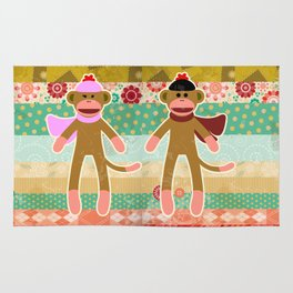 Cute Sock Monkey on Cloth Pattern Rug