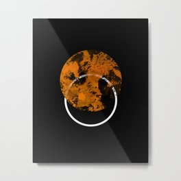 Collusion - Abstract in black, gold and white Metal Print