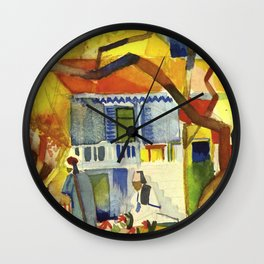 "August Macke ""Courtyard of the country house in St. Germain"" Wall Clock"
