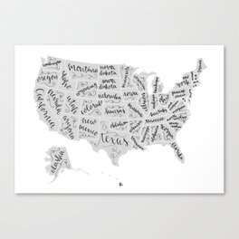 United States of Hand Lettering Canvas Print