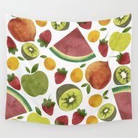 fruits Wall Tapestries featuring fruits by Ana Rey