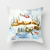 merry christmas Throw Pillows featuring Merry Christmas by Looly Elzayat