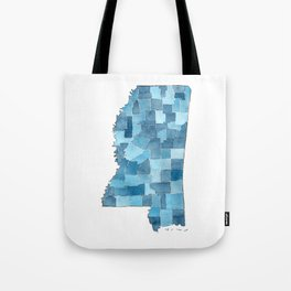 Mississippi Counties Blueprint watercolor map Tote Bag
