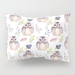 Watercolor Owl Pattern Pillow Sham