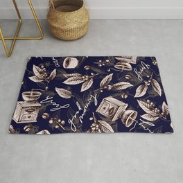 Coffee Seeds and Leaves Cozy Pattern Rug