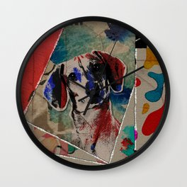 Dachshund Abstract mixed media digital art collage Wall Clock