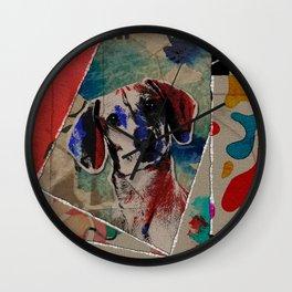 Dachshund Abstract mixed media digital art collage Wall Clock