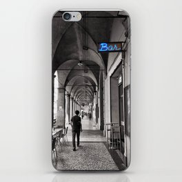 Black and white Bologna Street Photography iPhone Skin