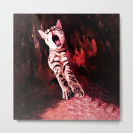 The Great Kitty Warrior of the Fiery Cat Cavern Metal Print