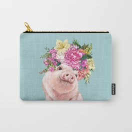 Flower Crown Baby Pig in Blue Carry-All Pouch