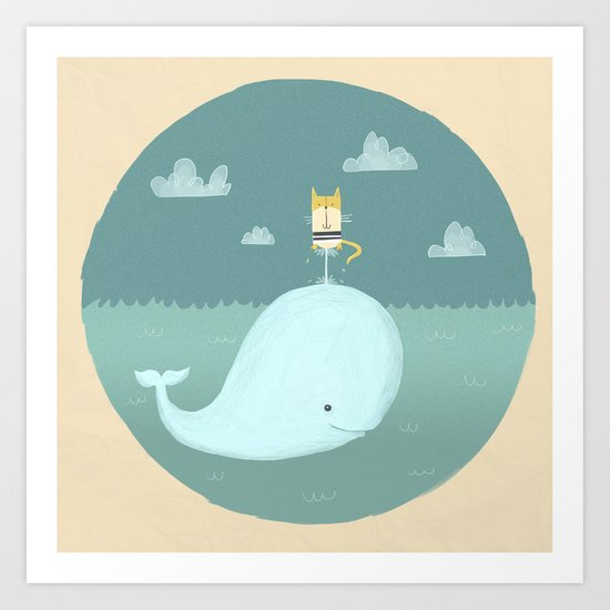 The Cat and the Whale Art Print