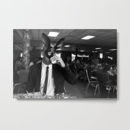 Drinking tea with The Bunnyman. Metal Print