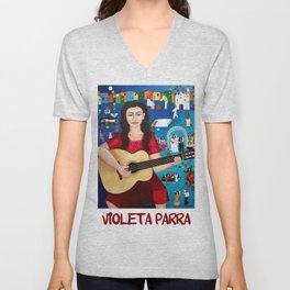 Violeta Parra playing guitar Unisex V-Neck