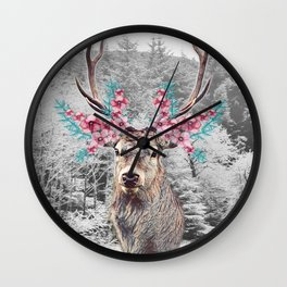 Fluttering Stag Wall Clock