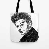 louis tomlinson Tote Bags featuring Louis Tomlinson by Hollie B