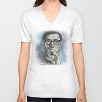woody allen V-neck T-shirts featuring Woody Allen by Magdalena Almero